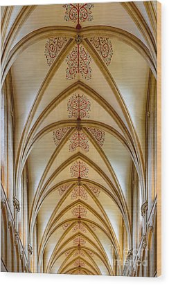 Ceiling, Wells Cathedral. Wood Print by Colin Rayner