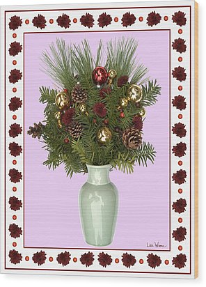 Wood Print featuring the digital art Celadon Vase With Christmas Bouquet by Lise Winne