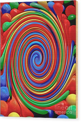 Celebrate Life And Have A Swirl Wood Print by Carol F Austin