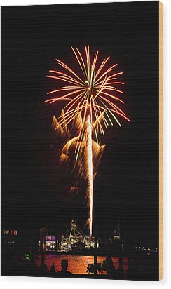 Wood Print featuring the photograph Celebration Fireworks by Bill Barber