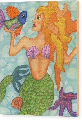 Celeste The Mermaid Wood Print