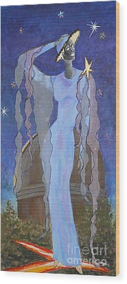 Celestial Bodies -- Fashion Collage Portrait W/ Fabric And Crystals Wood Print