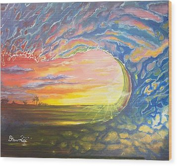 Wood Print featuring the painting Celestial Break by Dawn Harrell