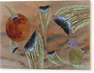 Celestial Butterflies Wood Print
