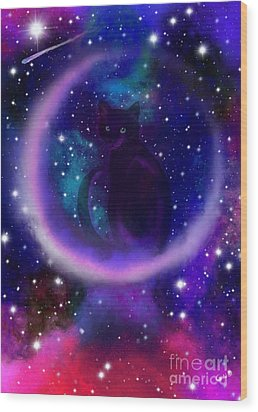 Wood Print featuring the painting Celestial Crescent Moon Cat  by Nick Gustafson