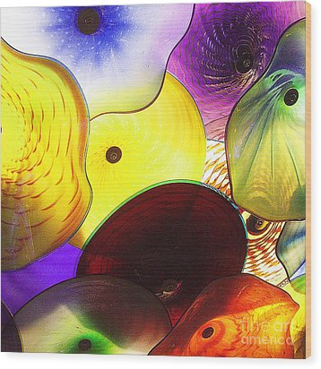 Celestial Glass 1 Wood Print by Xueling Zou
