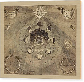 Celestial Map 1710b Wood Print by Andrew Fare