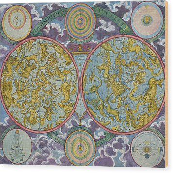 Celestial Map Of The Planets Wood Print by Georg Christoph Eimmart