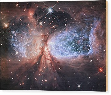 Wood Print featuring the photograph Celestial Snow Angel - Enhanced - Sharpless 2-106 by Adam Romanowicz