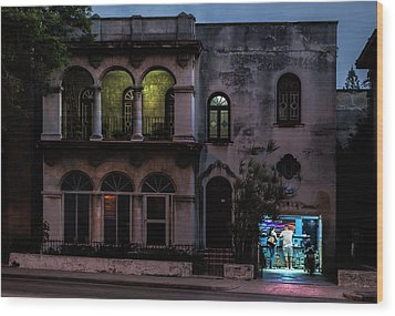 Cell Phone Shop Havana Cuba Wood Print by Charles Harden