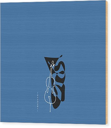 Cello In Blue Wood Print