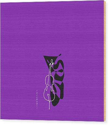 Cello In Purple Wood Print by David Bridburg