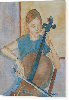 Cello Practice Iv Wood Print by Jenny Armitage