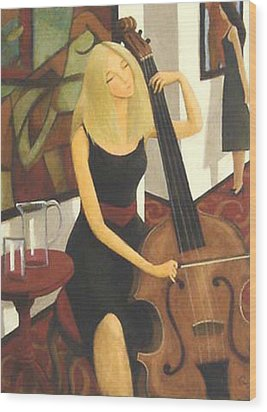 Wood Print featuring the painting Cello Solo by Glenn Quist