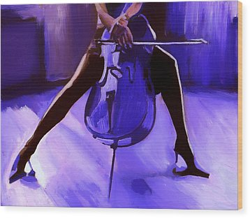 Cello Wood Print by Vel Verrept