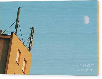Cellular Phone Antennas And A Half Moon At Sunset Wood Print by Sami Sarkis