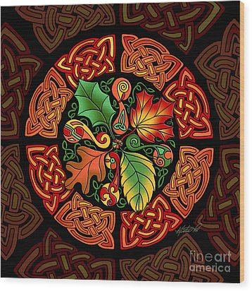 Wood Print featuring the mixed media Celtic Autumn Leaves by Kristen Fox