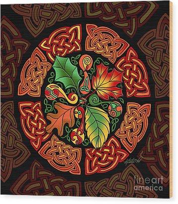Celtic Autumn Leaves Wood Print by Kristen Fox