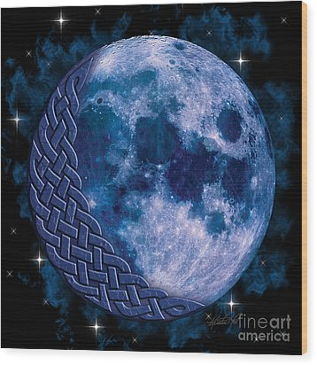 Wood Print featuring the mixed media Celtic Blue Moon by Kristen Fox