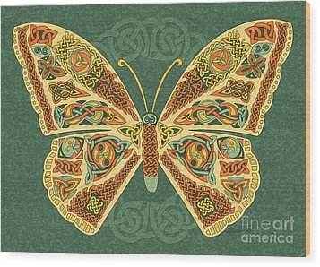 Wood Print featuring the mixed media Celtic Butterfly by Kristen Fox