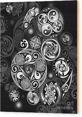Wood Print featuring the mixed media Celtic Clockwork by Kristen Fox