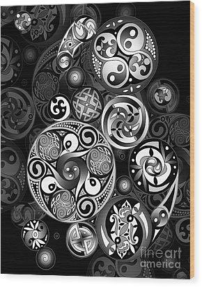 Celtic Clockwork Wood Print by Kristen Fox