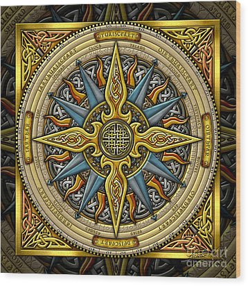 Wood Print featuring the mixed media Celtic Compass by Kristen Fox