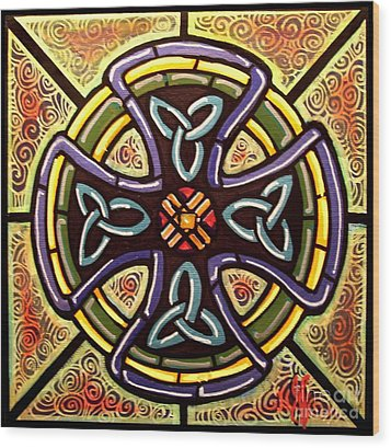 Wood Print featuring the painting Celtic Cross 2 by Jim Harris
