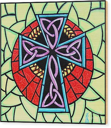 Wood Print featuring the painting Celtic Cross by Jim Harris