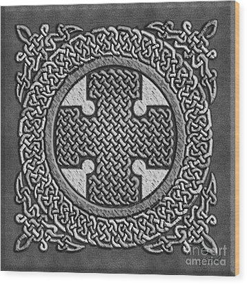 Wood Print featuring the mixed media Celtic Cross by Kristen Fox