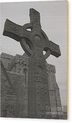 Celtic Cross Wood Print by Louise Fahy