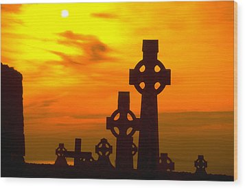 Wood Print featuring the photograph Celtic Crosses In Graveyard by Carl Purcell