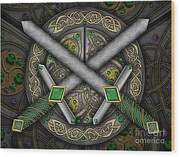 Wood Print featuring the mixed media Celtic Daggers by Kristen Fox
