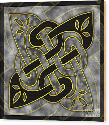 Wood Print featuring the mixed media Celtic Dark Sigil by Kristen Fox