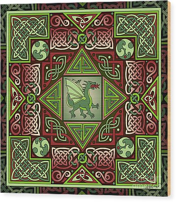 Wood Print featuring the mixed media Celtic Dragon Labyrinth by Kristen Fox