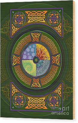 Wood Print featuring the mixed media Celtic Elements by Kristen Fox