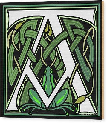 Celtic Frog Letter A Wood Print