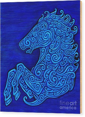 Celtic Horse Wood Print by Rebecca Wang