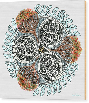 Celtic Knot With Autumn Trees Wood Print