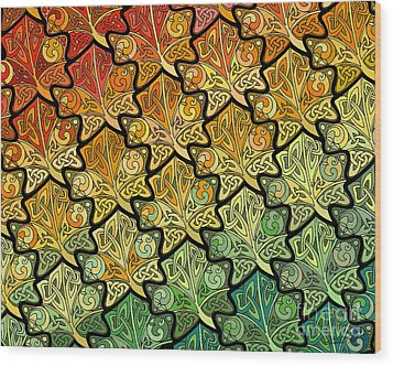 Wood Print featuring the mixed media Celtic Leaf Transformation by Kristen Fox