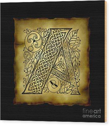 Celtic Letter A Monogram Wood Print by Kristen Fox