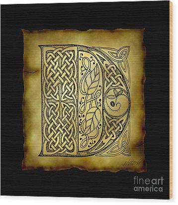 Celtic Letter D Monogram Wood Print by Kristen Fox