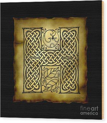 Celtic Letter H Monogram Wood Print by Kristen Fox