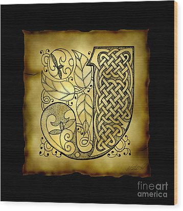 Celtic Letter J Monogram Wood Print by Kristen Fox