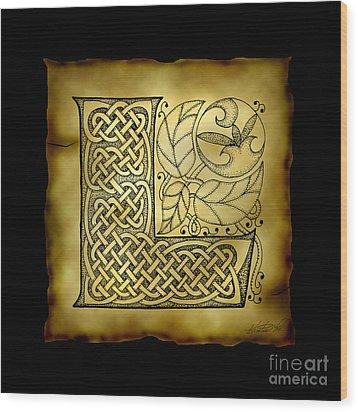 Celtic Letter L Monogram Wood Print by Kristen Fox