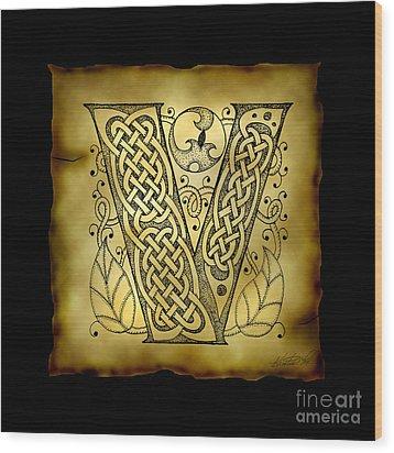 Celtic Letter V Monogram Wood Print by Kristen Fox