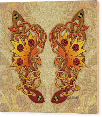 Wood Print featuring the mixed media Celtic Loose Leaves by Kristen Fox