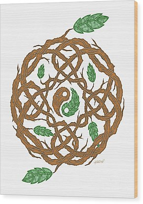 Celtic Nature Yin Yang Wood Print by Kristen Fox