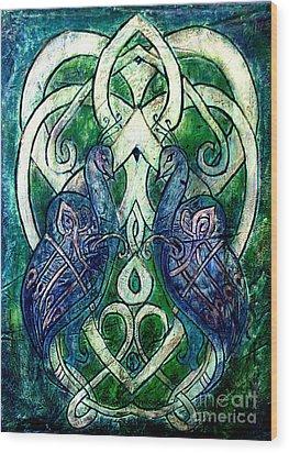 Celtic Peacocks Wood Print