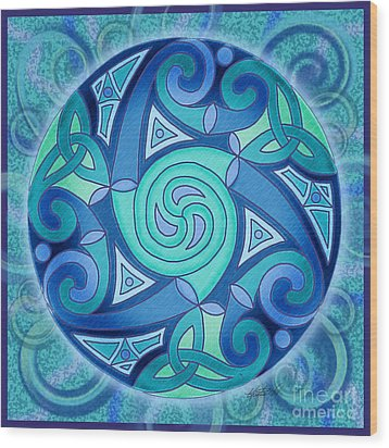 Wood Print featuring the mixed media Celtic Planet by Kristen Fox